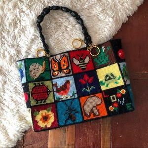 Vintage | Handmade Stitched Yarn Tote Bag